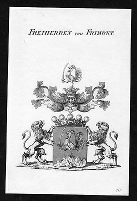 Ca. 1820 Frimont Wappen Adel coat of arms Kupferstich antique print heraldry