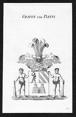 Ca. 1820 Piatti Wappen Adel coat of arms Kupferstich antique print herald 131237