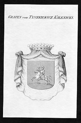 Ca. 1820 Tyszkiewicz Kalenicki Adel coat of arms Kupferstich antique print