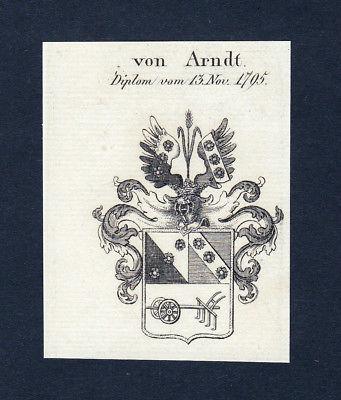 1820 Arndt Wappen Adel coat of arms heraldry Heraldik Kupferstich engravi 134312