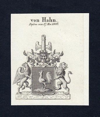1820 Hahn Wappen Adel coat of arms heraldry Heraldik Kupferstich engravin 134116