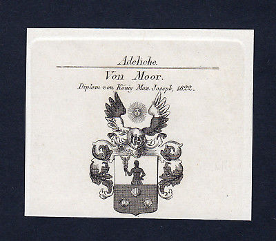 1822 - Moor Wappen Adel coat of arms Kupferstich antique print heraldry