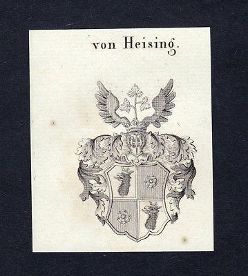 1820 Heising Wappen Adel coat of arms heraldry Heraldik Kupferstich engraving