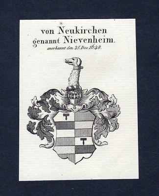 1820 Neukirchen Nievenheim Wappen Adel coat of arms Kupferstich engraving
