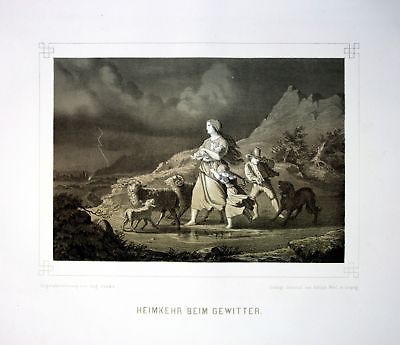 1857 Gewitter Heimkehr thunder storm homecoming Lithographie Litho Barbe