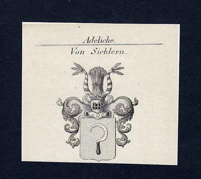 1820 Sichlern Siebold Wappen Adel coat of arms Heraldik Kupferstich engraving
