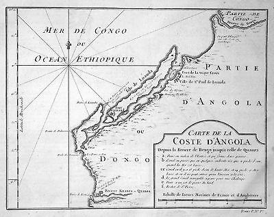 1750 Angola Afrika Africa coast Küste Karte map Kupferstich antique print Bellin