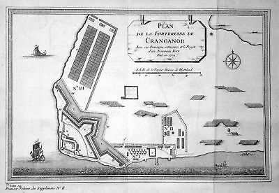 1709 Kottapuram Fort Cranganore India map plan Kupferstich antique print Bellin
