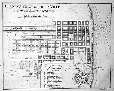 1750 Cape of Good Hope Kap der Guten Hoffnung Kupferstich antique print Bellin