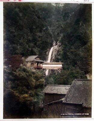 1880 Waterfall Nonobiki at Kobe Wasserfall Japan Nunobiki falls photo albumen