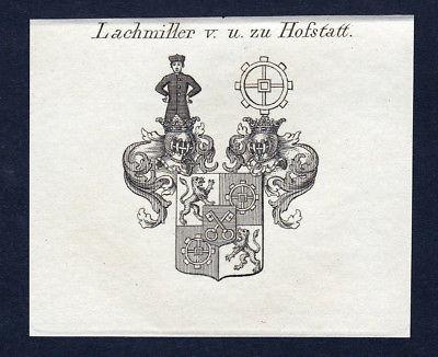 Ca. 1820 Lachmiller Hofstatt Wappen Adel coat of arms Kupferstich antique print