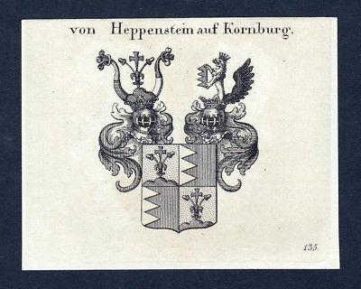 Ca. 1820 Heppenstein Kornburg Wappen Adel coat of arms Kupferstich antique print