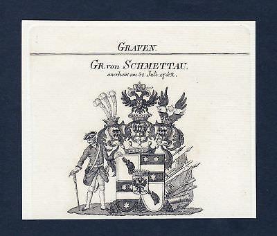 Ca. 1820 Schmettau Schmettow Wappen Adel coat of arms Kupferstich antique print