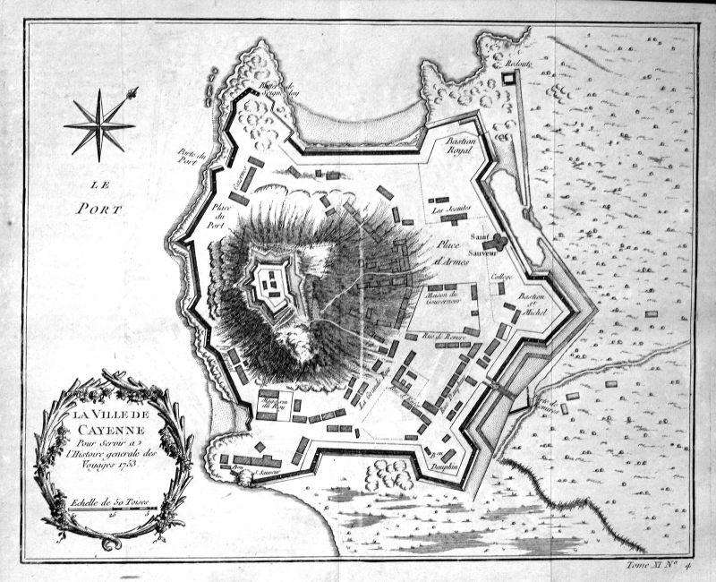 1753 Cayenne French Guiana map Karte gravure Kupferstich antique print Bellin