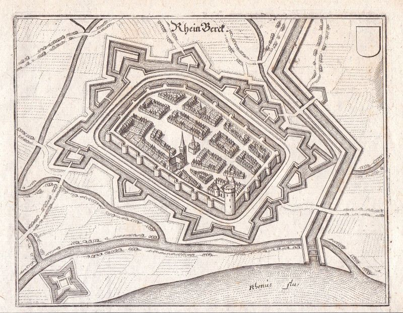 1650 Rheinberg Wesel Rhein Düsseldorf Grundriss Merian Kupferstich Antique  Print 0