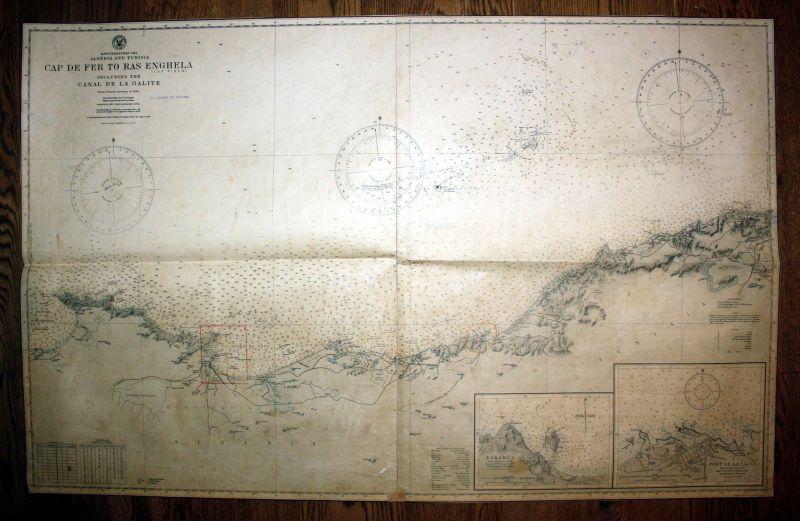 1926 Algeria Tunisia Cap De Fer Ras Enghela Algerien Tunesien Map Karte Plan