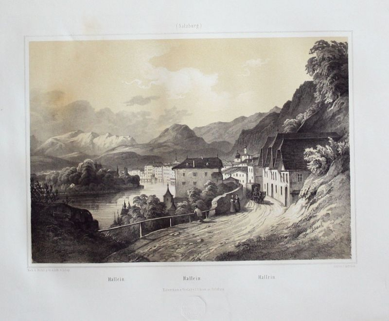 Ca. 1850 - Hallein Tennengau Original Lithographie Litho