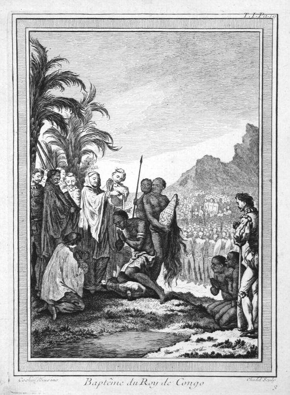 Ca. 1750 Kongo Congo König king baptism Taufe Kupferstich antique print