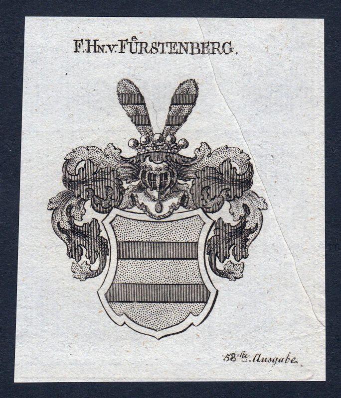 1820 Fürstenberg Westfalen Wappen Adel coat of arms Kupferstich engraving
