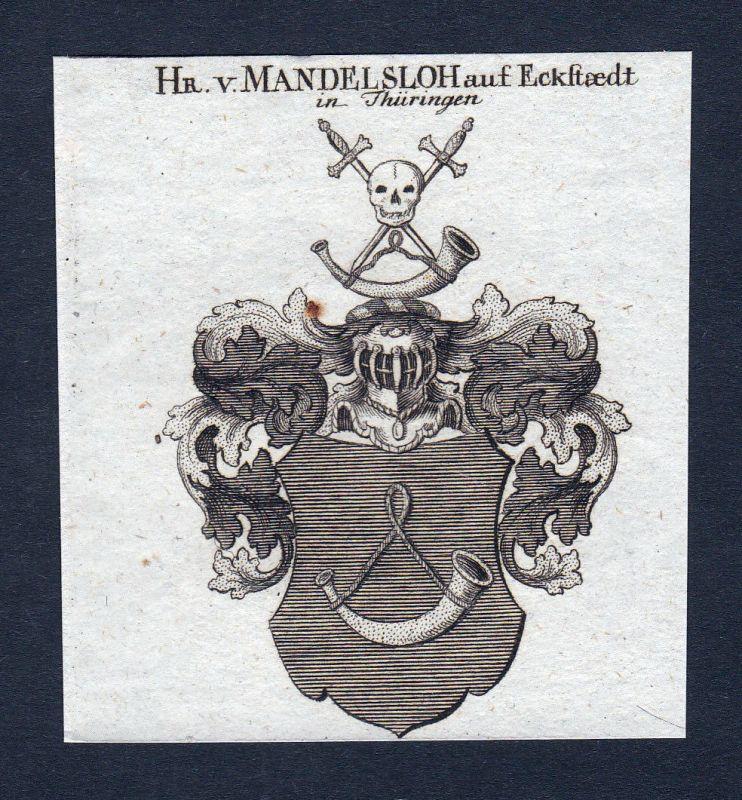 Mandelsloh Thüringen Eckstedt Wappen Adel coat of arms Kupferstich engraving