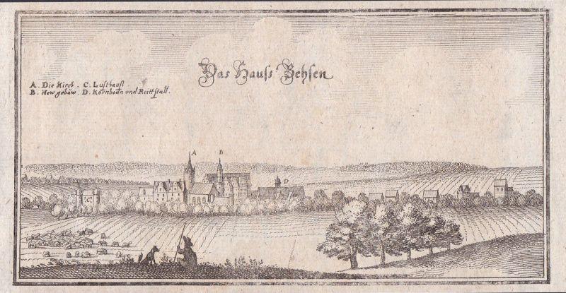 1650 Beesen Halle Saale Ammendorf Merian Kupferstich antique print