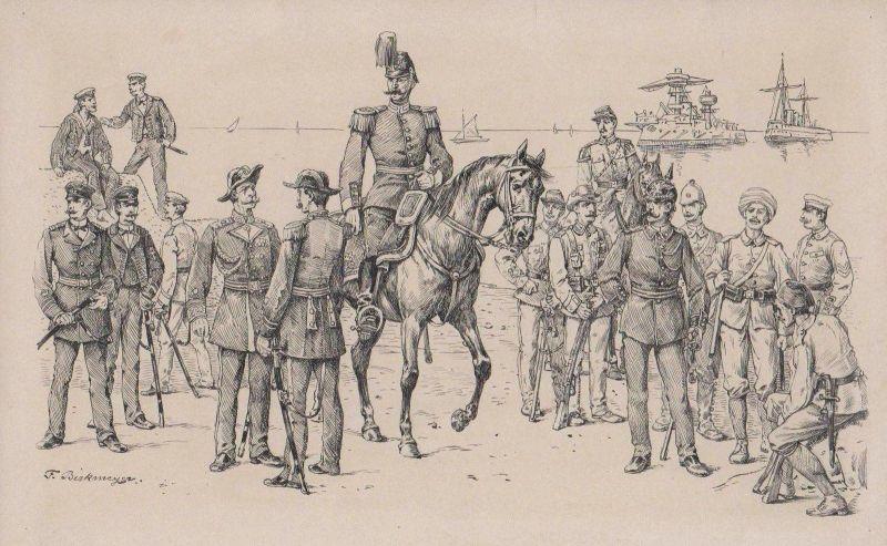 1894 - Militaria Uniformen Marine Original Zeichnung Fritz Birkmeyer signiert