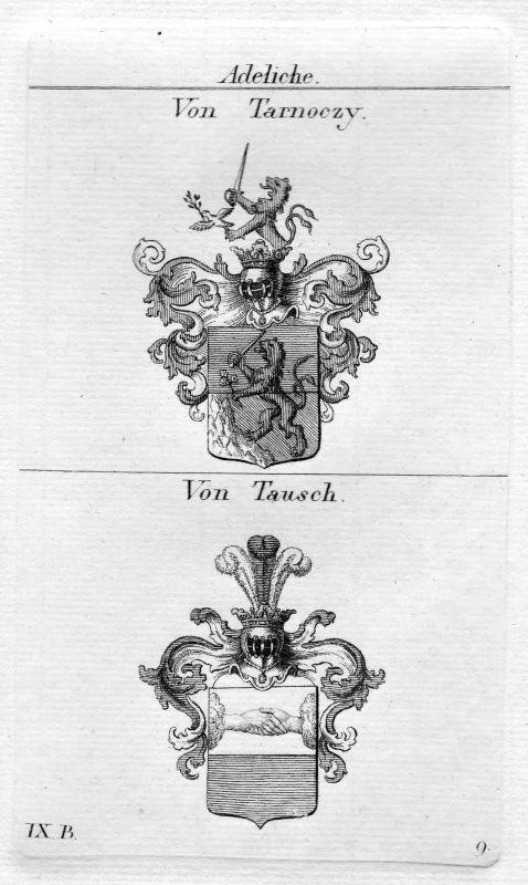 Tarnoczy Tausch - Wappen Adel coat of arms heraldry Heraldik Kupferstich