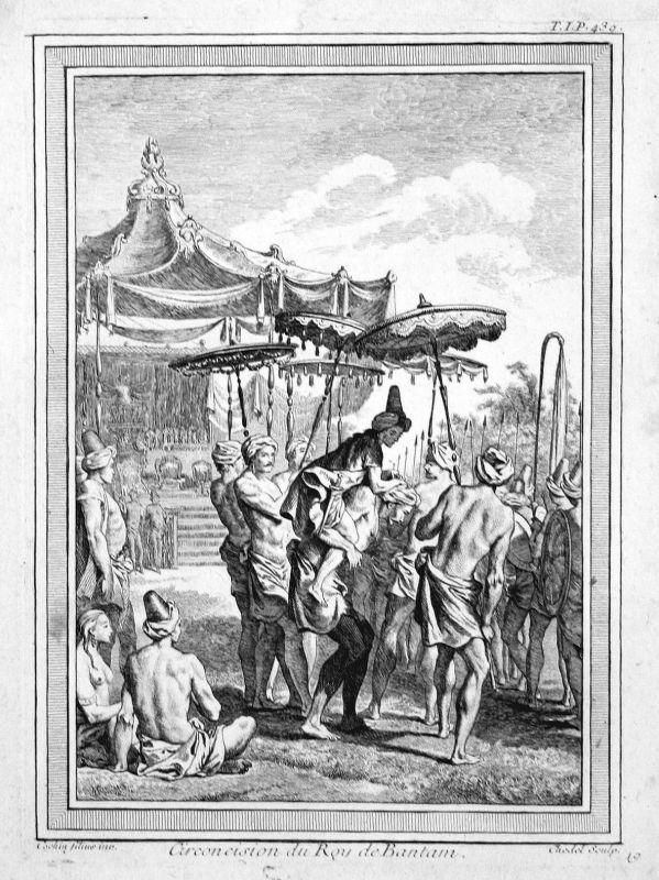 1750 Banten Java king König circumcision Beschneidung Kupferstich antique print
