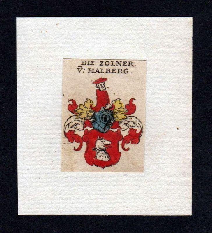 17. Jh. Zolner von Halberg Wappen coat of arms heraldry Heraldik Kupferstich