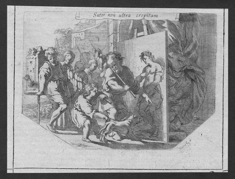 1700 human Menschen nude Akt Hund dog etching Kupferstich antique print