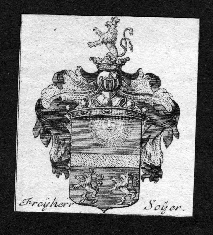 1750 - Soyer Wappen Adel coat of arms heraldry Heraldik Kupferstich