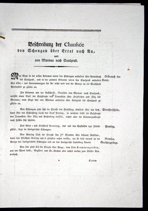 1796 Beschreibung Textblätter Karte Schongau Ettal Murnau Atlas Bayern Riedl