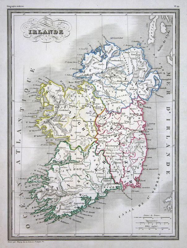 1837 Irland Irlande Ireland Dublin map Karte carte Kupferstich antique print