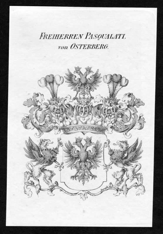 Ca. 1820 Pasqualati Osterberg Wappen Adel coat of arms Kupferstich antique print