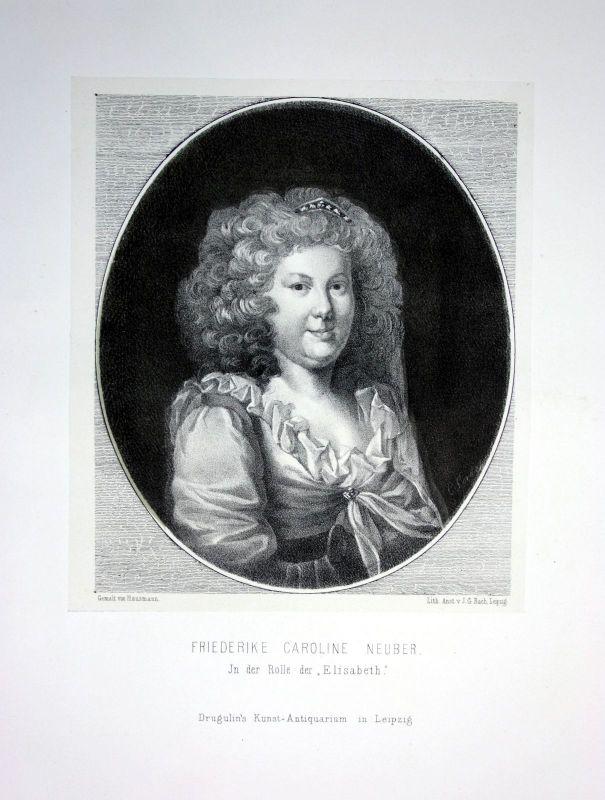 1857 Friederike Caroline Neuber Schauspielerin actress Portrait Lithographie