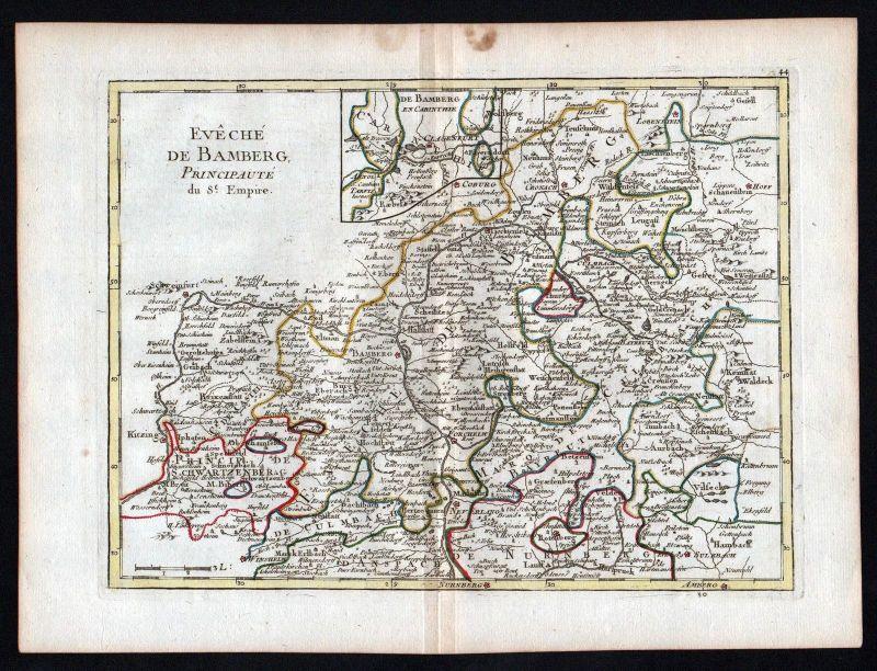 Karte Bamberg Landkarte.Ca 1756 Bamberg Coburg Kronach Forchheim Erlangen Map Karte Le Rouge Kupferstich