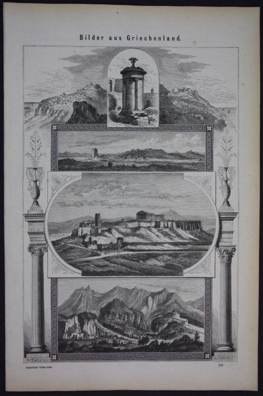 1875 Griechenland Greece Panorama Holzschnitt antique print