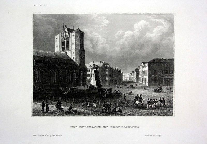 1840 - Braunschweig Burgplatz Kirche Militär Niedersachsen engraving Stahlstich