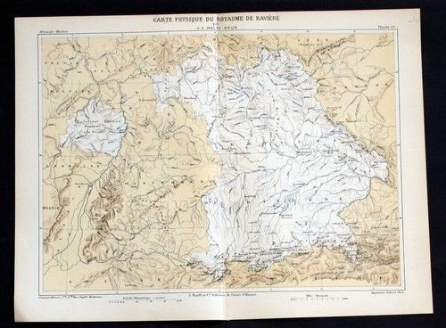 1880 - Physikalische Karte von Bayern Lithographie Bavaria map carte