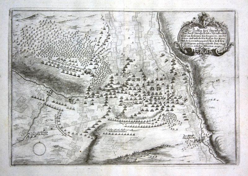 Ca. 1700 Steenkerke Belgique carte gravure map Kupferstich antique print Merian