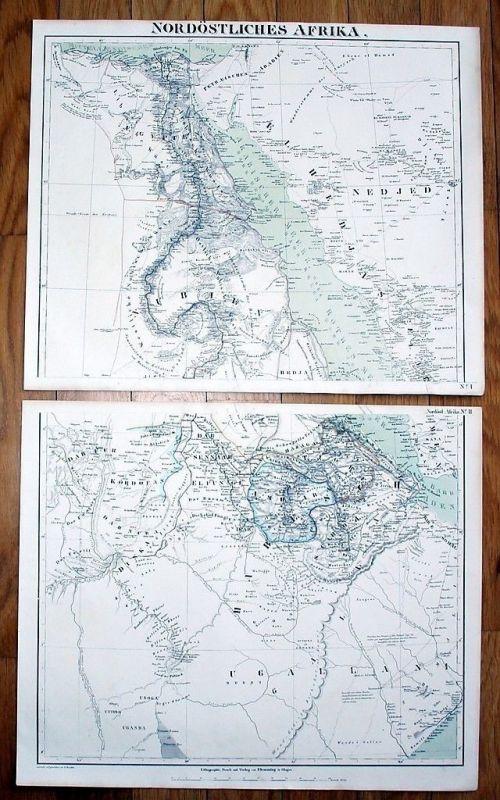 1850 - Egypt Ägypten Sudan Arabia Eritrea Karte Litho map