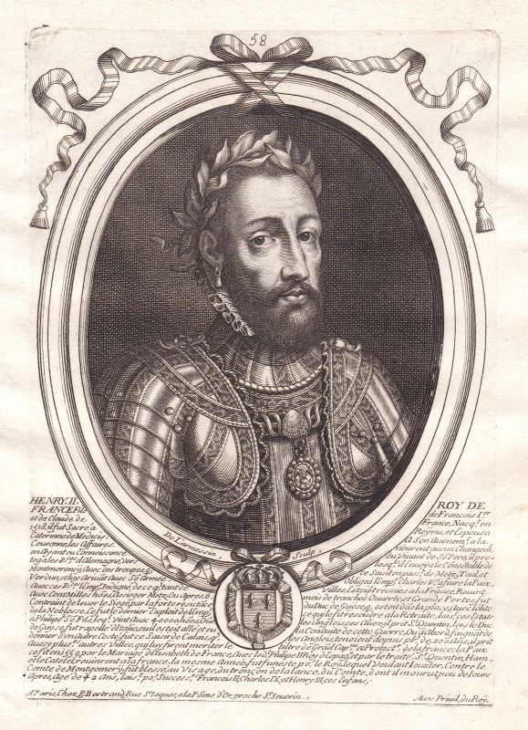 1680 Henri II France roi Portrait Kupferstich engraving gravure de Larmessin