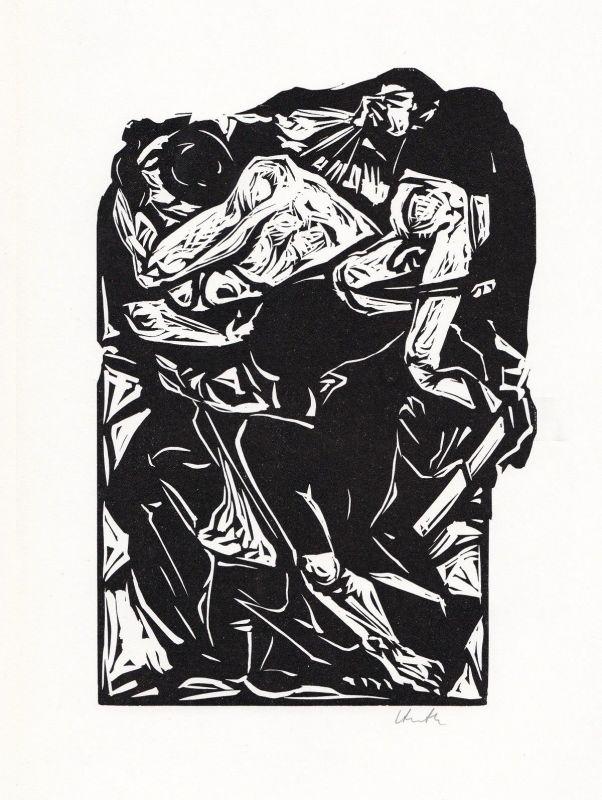 1969 Benno Huth Linolschnitt Cartull Carmen (Verliebtes Paar) signiert