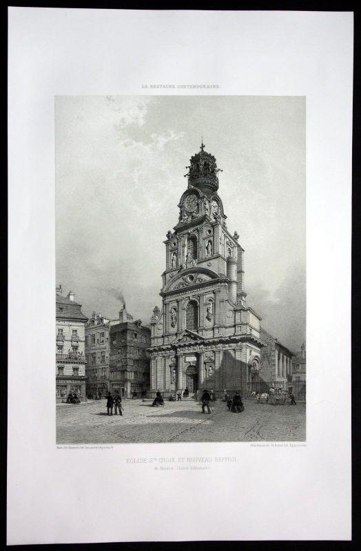 1860 - Kirche St. Croix Nantes Bretagne Frankreich France Lithographie