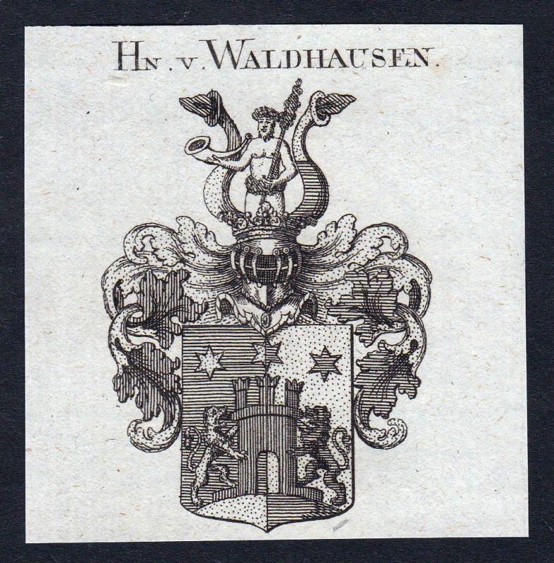 Ca. 1820 Waldhausen Waldthausen Wappen Adel coat of arms Kupferstich antique