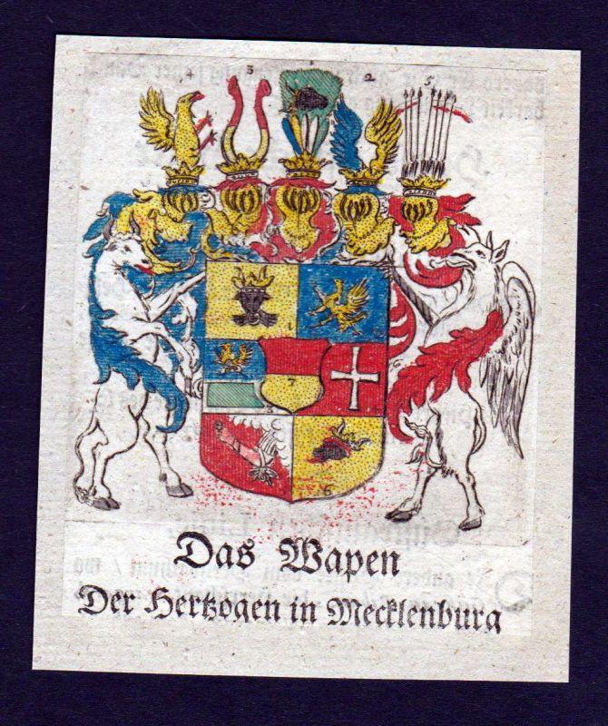 1750 - Mecklenburg Wappen Adel coat of arms heraldry Heraldik Kupferstich