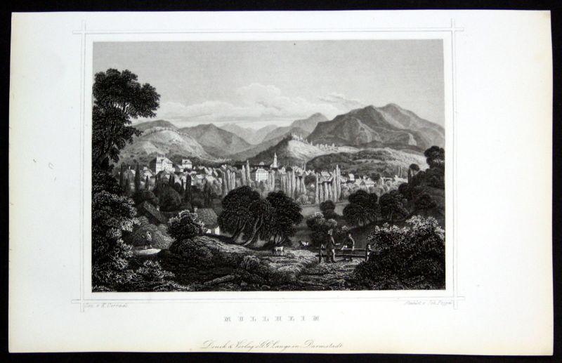 1850 Müllheim Baden-Württemberg Freiburg gravure Stahlstich Poppel Corradi