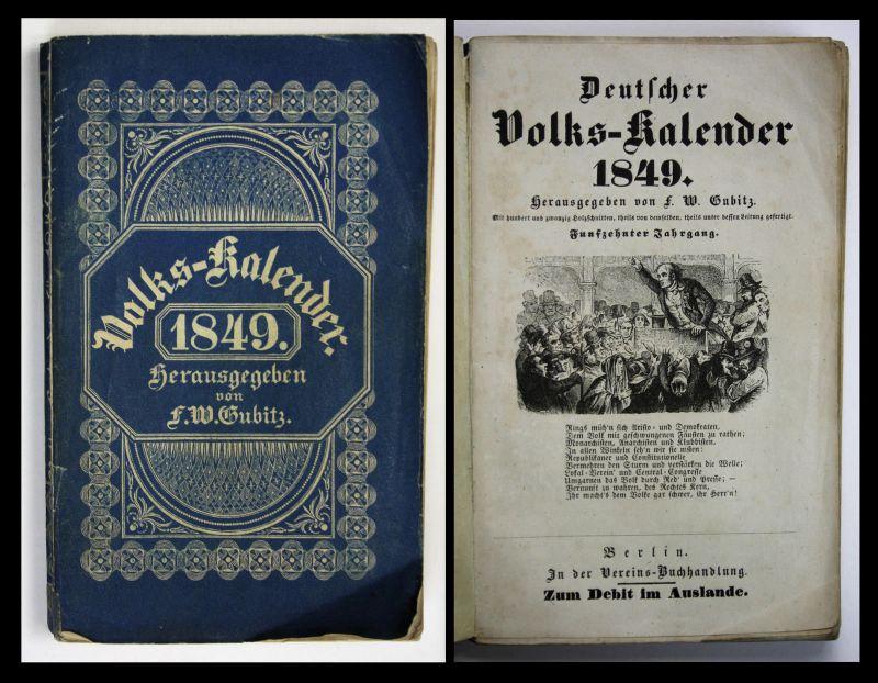 1849 F. W. Gubitz Deutscher Volks-Kalender 1849 Volkskunde Abbildungen