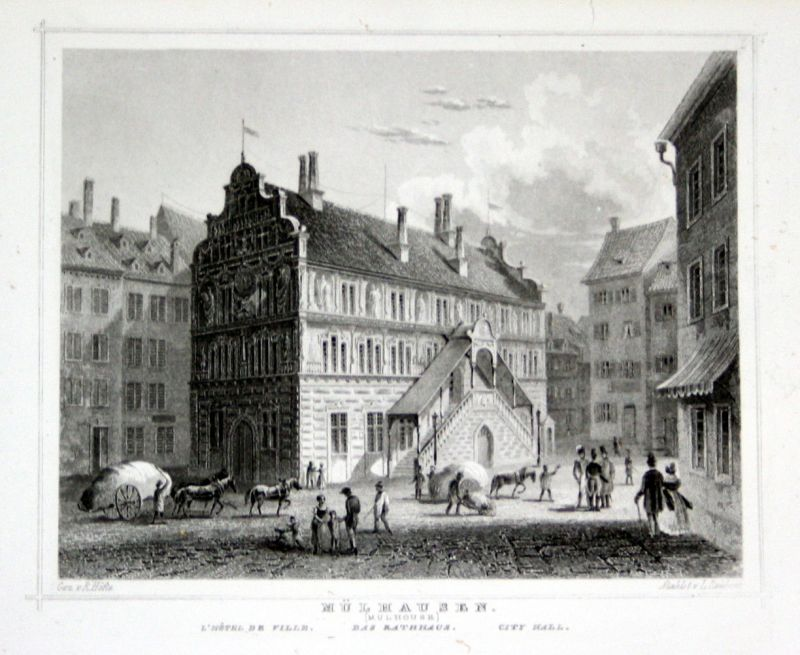 Mulhouse Frankreich 1850 mülhausen mulhouse frankreich gravure stahlstich höfle
