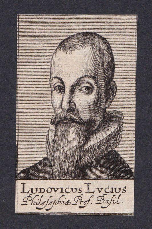 17. Jh. Ludwig Lucius / theologian Theologe Basel Portrait Kupferstich